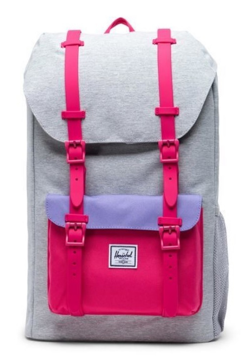 Herschel Little America Backpack - Light Grey Crosshatch with Raspberry