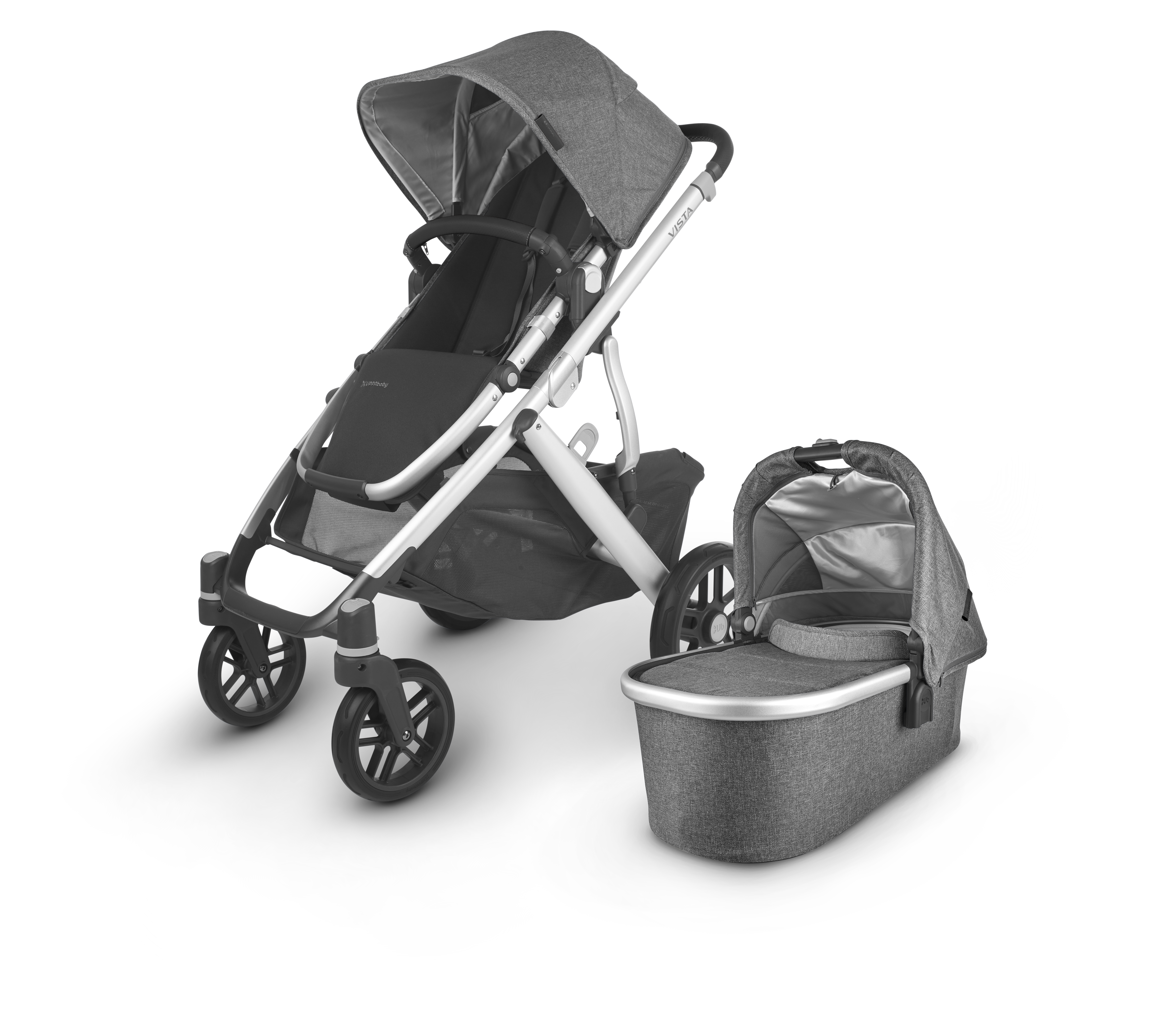 UPPAbaby Vista V2 Stroller - Jordan (Charcoal Melange/Silver/Black Leather)