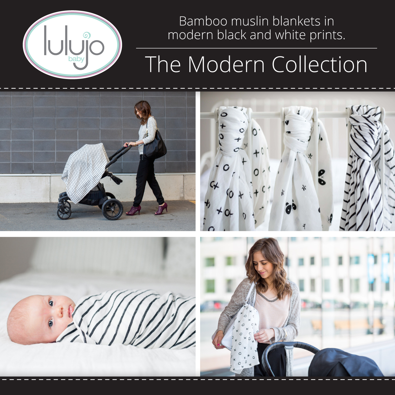 Lulujo Bamboo Modern Collection - Bamboo Muslin Swaddling Blankets