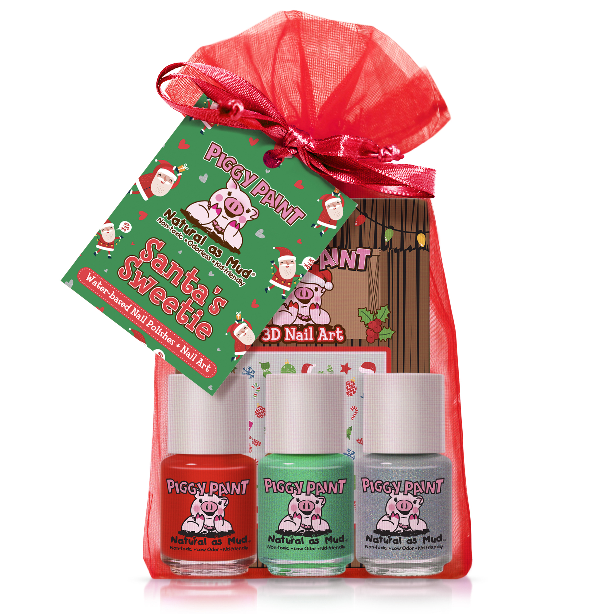 Piggy Paint Santa Holiday Gift Set with Nail Art Stickers