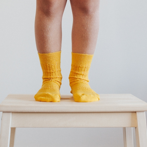 Lamington Crew Length Socks - Saffron  (Size 6-8 years)