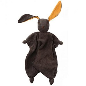 Dark Brown Bunny with Orange Ears and stuffed with wool
