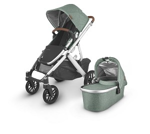 UPPAbaby Vista V2 Stroller - Emmett (Green Melange/Silver/Saddle Leather)