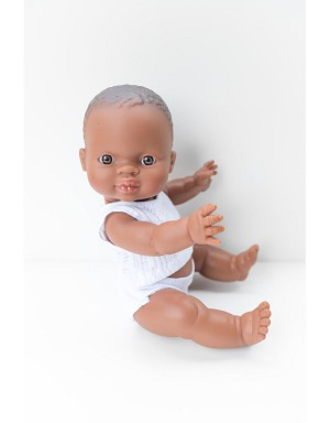 William is a bald baby doll with blue pj set